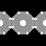 时髦无缝的样式设计 与八角形物的黑白马赛克与镶边纹理 导航几何背景 库存例证