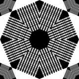 时髦无缝的样式设计 与八角形物的黑白马赛克与镶边纹理 导航几何背景 向量例证