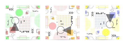 时髦无缝的集合,与几何样式, vecto的孟菲斯样式 库存例证