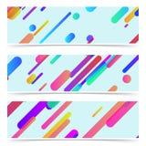 时髦明亮的五颜六色的氖排行横幅汇集 免版税库存图片