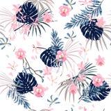时髦明亮的夏天甜点热带与花棕榈叶, Exo 皇族释放例证
