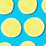 时髦最小的夏天无缝的样式用在颜色背景的整个,切的新鲜水果柠檬 库存照片