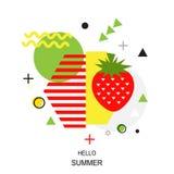 时髦样式几何样式用草莓,传染媒介illustrat 图库摄影