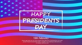 时髦梯度海报或横幅2月19总统日Day - 免版税库存图片