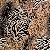 时髦混杂的动物皮毛,老虎,斑马,豹子,蛇,背景 向量例证
