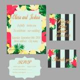 时髦热带密林样式传染媒介婚礼印刷品集合 库存照片