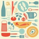 时髦的五颜六色的厨房收藏 库存图片