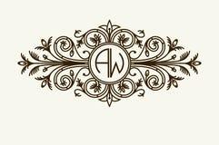 时髦的优美的组合图案,典雅的线艺术在维多利亚女王时代的样式的商标设计 免版税库存照片