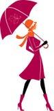 时髦的伞妇女 免版税库存图片