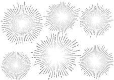 时髦的减速火箭的星破裂了爆炸光芒汇集被隔绝的coll 免版税库存照片