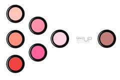 时髦的化妆用品介绍脸红 免版税库存照片