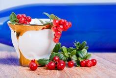 时髦的咖啡杯和红色越橘 库存图片