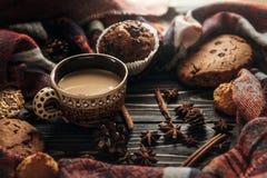 时髦的土气冬天咖啡曲奇饼和香料在木backgr 免版税库存图片