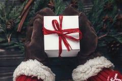 时髦的圣诞节季节性问候概念 手在手套美国兵 图库摄影