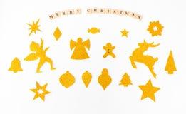 时髦的圣诞节形状嘲笑  圣诞节时间的被手工造的保险开关 顶视图 库存图片