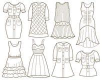 时髦的女人的礼服的汇集 库存例证