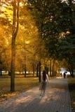 时髦的女孩在秋天公园走 人们在距离走 太阳` s光芒通过做他们的方式 图库摄影