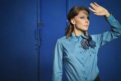 时髦的女孩时尚画象  免版税图库摄影