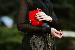 年轻时髦的妇女生活方式画象在有一个红色时髦袋子的城市进来 在女孩肩膀女用无带提包 免版税库存图片