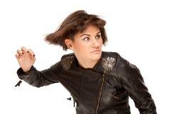 时髦的妇女的照片有振翼的头发的 免版税库存图片