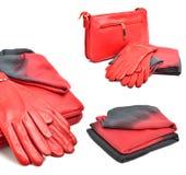 时髦的妇女红色袋子、手套和围巾 库存照片