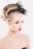 时髦的妇女 抽象横幅方式发型例证 库存图片