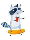 时髦的少年去的浣熊饮用的咖啡从外带的杯子,当乘坐在滑板时 水彩剪影  库存例证