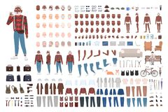 时髦的年长人建设者或创作成套工具 捆绑男性角色身体局部,情感,被隔绝的时髦衣物 向量例证