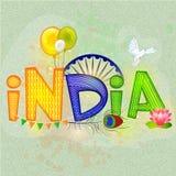 时髦的文本为印地安人美国独立日或共和国天 免版税库存照片