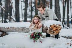 时髦的新婚佳偶在多雪的森林冬天婚礼摆在 附庸风雅 免版税库存图片