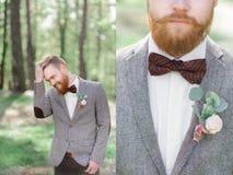 时髦的新郎的被加倍的图片灰色夹克的 免版税图库摄影