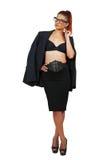 时髦的服装的典雅的女商人 免版税库存照片