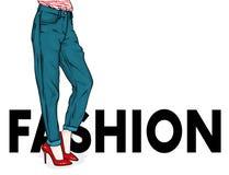 时髦的牛仔裤和鞋子的女孩 苗条女性脚 导航明信片或海报的,衣裳的印刷品例证 向量例证