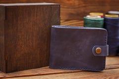 时髦的皮革钱包 免版税图库摄影