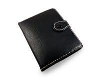 黑时髦的皮革钱包 免版税库存图片