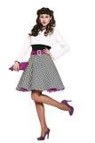 时髦的礼服的美丽的亭亭玉立的愉快的女孩 免版税库存图片