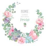 时髦的花卉传染媒介设计圆的框架 罗斯,山茶花,桃红色花, echeveria,普罗梯亚木, eucaliptus离开 库存照片