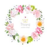 时髦的花卉传染媒介设计圆的框架 向量例证
