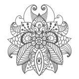 时髦的花卉背景,手拉的乱画花卉元素 库存照片