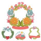 时髦的葡萄酒花卉框架设置与蝴蝶 皇族释放例证