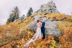 时髦的蓝色衣服的英俊的新郎接受白色的打扮了拿着玫瑰的花束在田园诗室外风景的新娘 免版税图库摄影