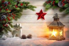 时髦的装饰圣诞节安排 库存照片