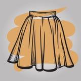 时髦的裙子模型手拉的传染媒介例证 免版税库存图片