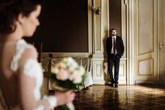 时髦的豪华摆在ba的新娘和英俊的典雅的新郎 免版税库存图片
