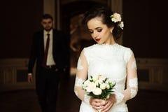 时髦的豪华新娘和英俊的典雅的新郎backgroun的 免版税图库摄影