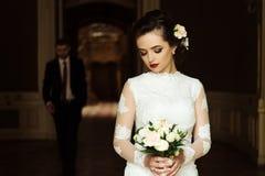 时髦的豪华新娘和英俊的典雅的新郎backgroun的 库存图片