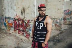 时髦的都市有胡子的人 免版税图库摄影