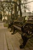 时髦的长凳在春天公园 例证百合红色样式葡萄酒 免版税库存图片