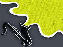 时髦的音乐萨克斯管和音符 库存照片