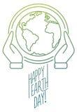 时髦线世界地球日的设计横幅 库存照片